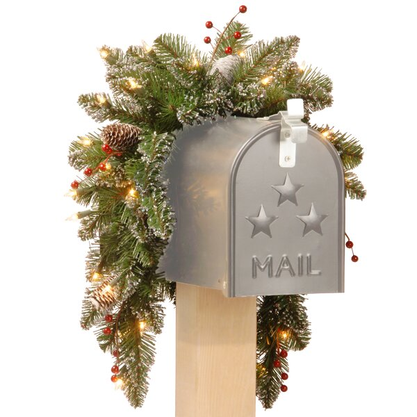 Pre-Lit Spruce Mailbox Swag by Three Posts