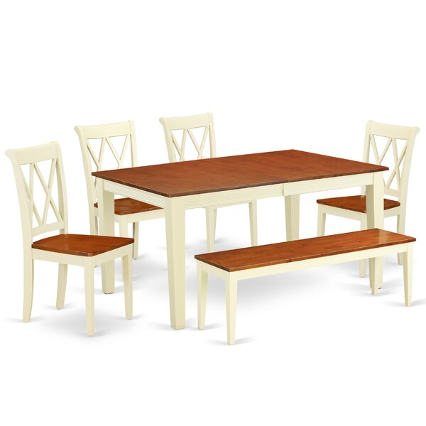 Laforce 6 Piece Extendable Solid Wood Breakfast Nook Dining Set by August Grove