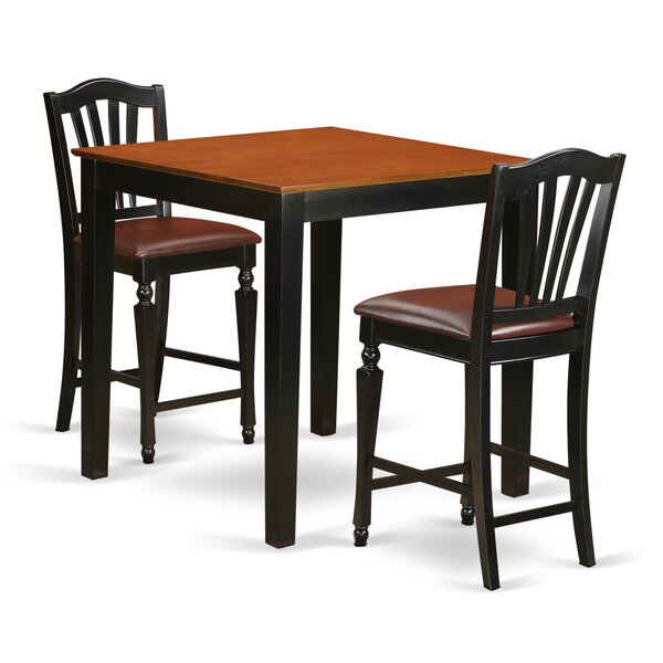 3 Piece Counter Height Pub Table Set by East West Furniture East West Furniture