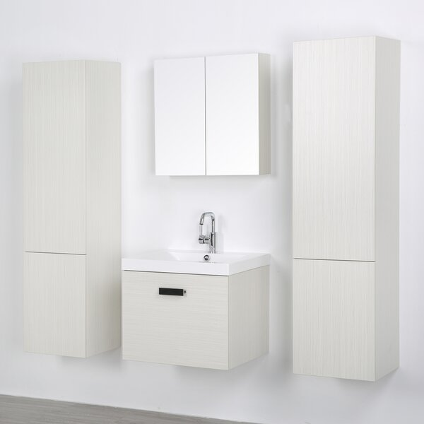 24 Wall-Mounted Single Bathroom Vanity Set with Mirror