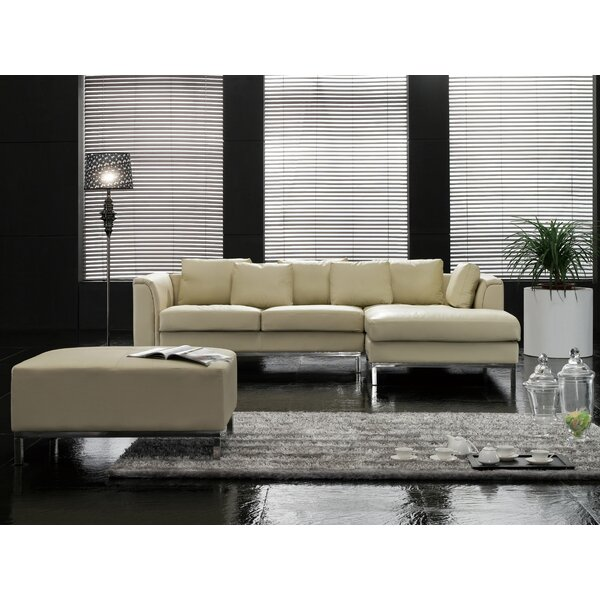 Blane Leather 106.3-inch Sectional by Wrought Studio Wrought Studio