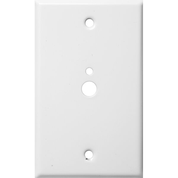 0.37 x 0.18 Stainless Steel Metal Wall Plates 1 Gang 1 Phone 1 Cable in White by Morris Products