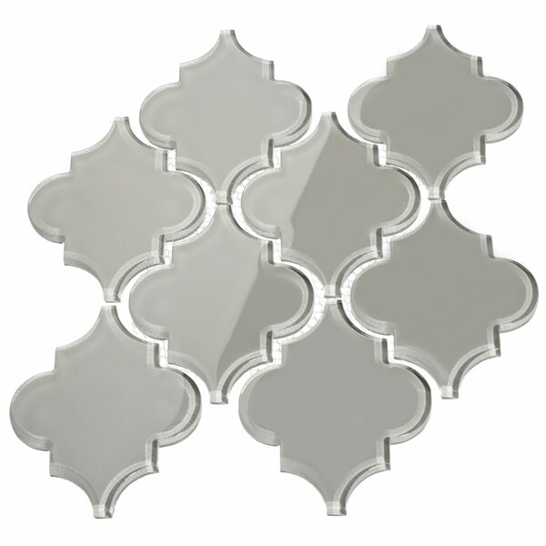 Water Jet 3.9 x 4.7 Glass Mosaic Tile in Light Gray by Giorbello