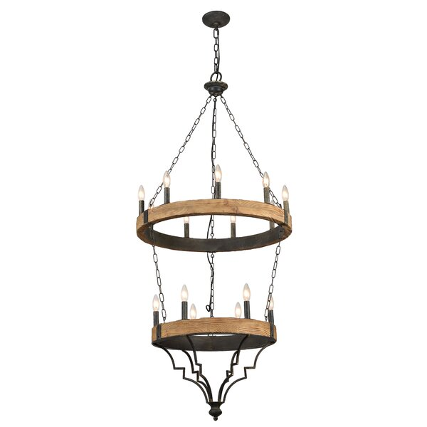 Prospe 15-Light Wagon Wheel Chandelier by Gracie Oaks