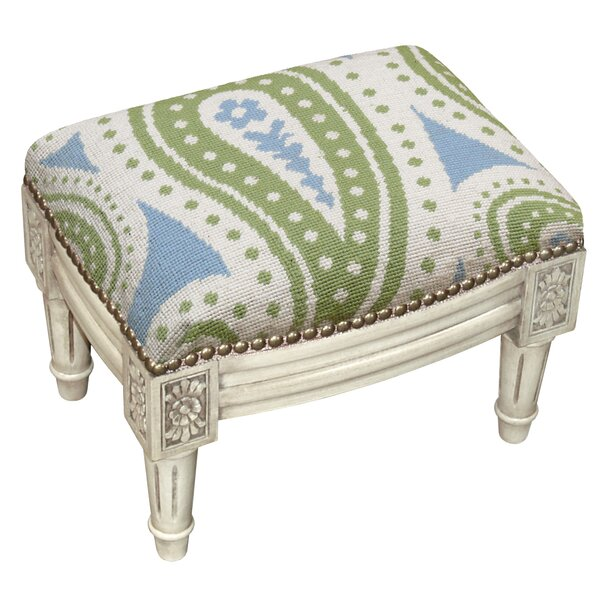 Paisley Wool Needlepoint Upholstered Accent Stool by 123 Creations