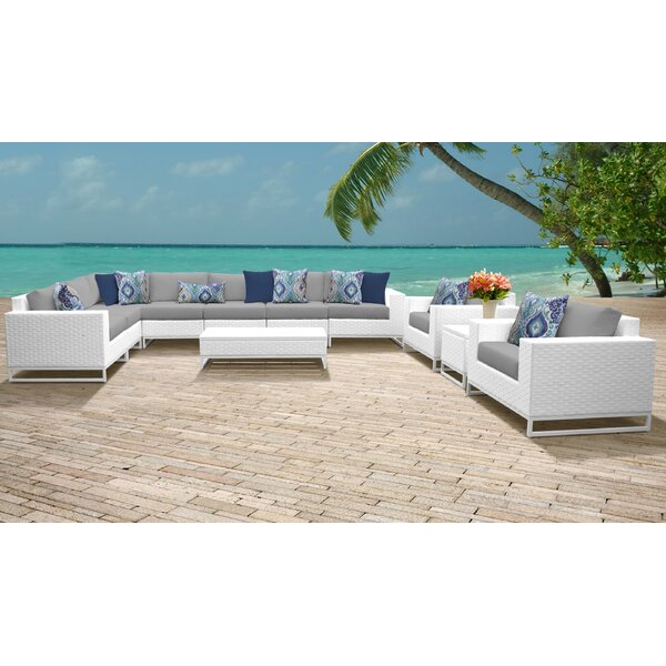 Miami 11 Piece Sectional Seating Group with Cushions by TK Classics
