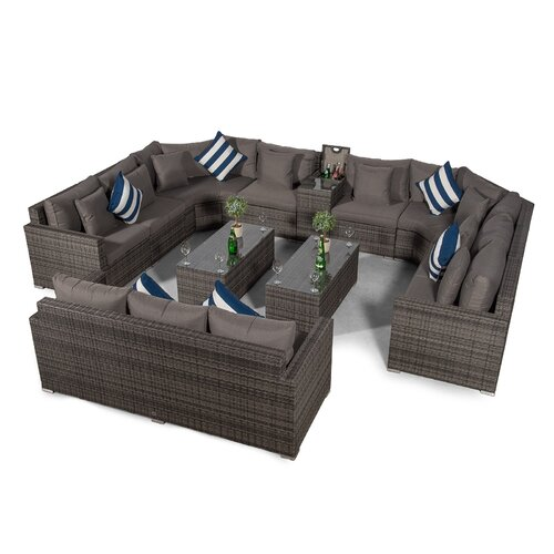 Villasenor Grey Rattan U Shape 8 Seat Sofa With 2 X Rectangu