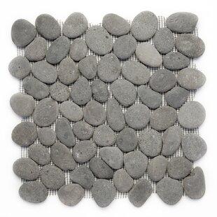 Decorative Random Sized Natural Stone Pebble Tile In River Gray