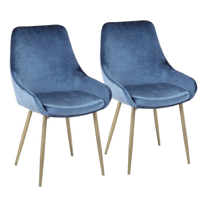 Orren Ellis  Verrett Upholstered Dining Chair Upholstery Color: Blue