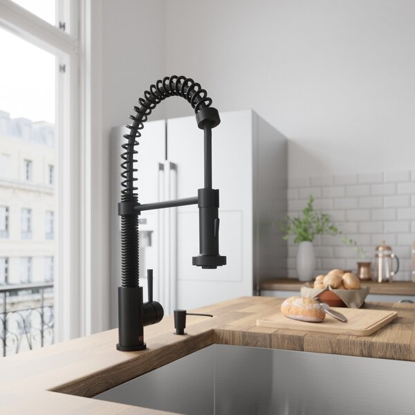 Edison Pull-Down Single Handle Kitchen Faucet With Soap Dispenser by VIGO