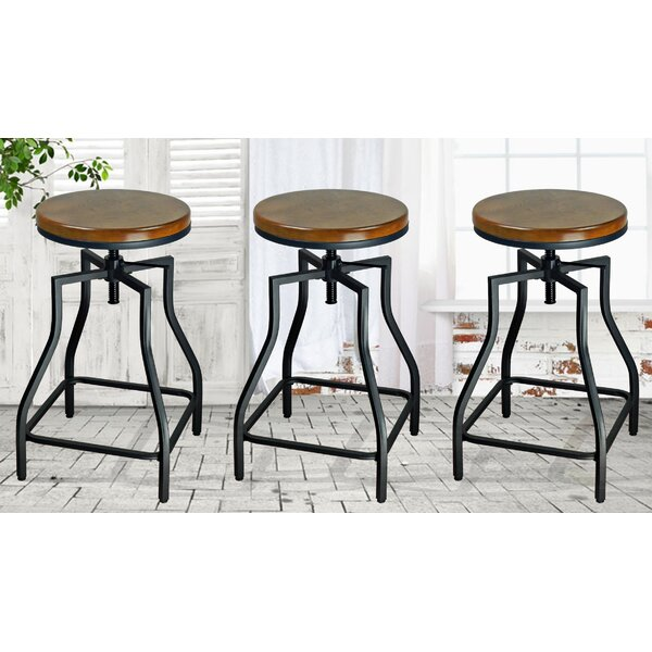 Wisbech Adjustable Height Bar Stool (Set of 3) by Williston Forge