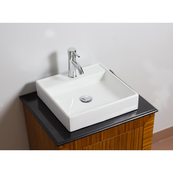 Above Counter Ceramic Square Vessel Bathroom Sink with Faucet and Overflow