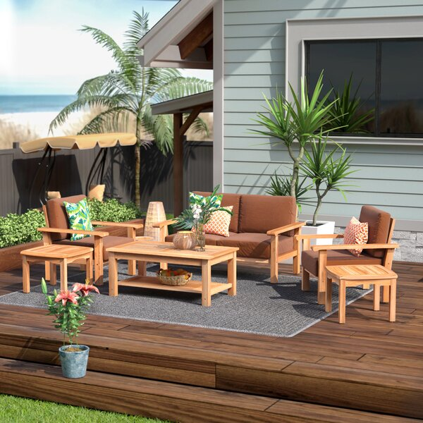 Elsmere 6 Piece Teak with Sunbrella Sofa Seating Group by Beachcrest Home