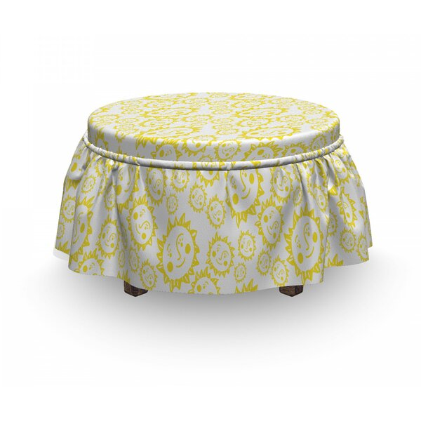 Home & Outdoor Cheerful Smiling Characters Ottoman Slipcover (Set Of 2)