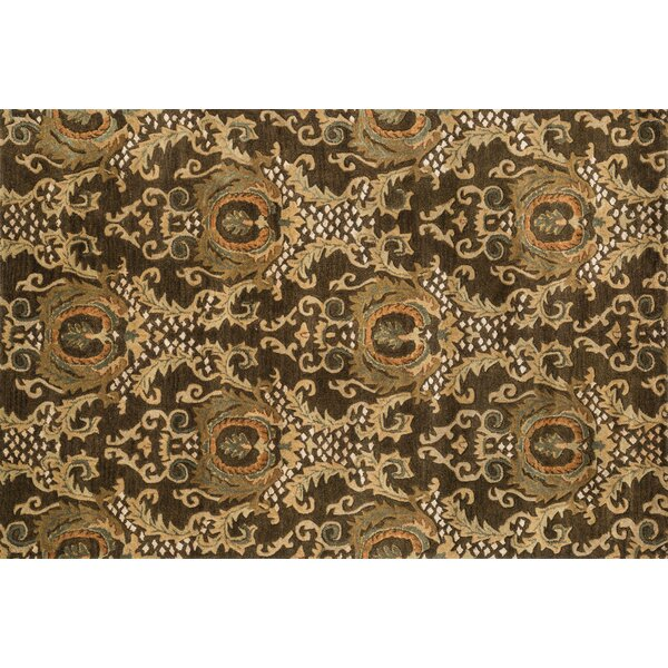 Yetter Hand-Tufted Dark Olive Area Rug by Bloomsbury Market