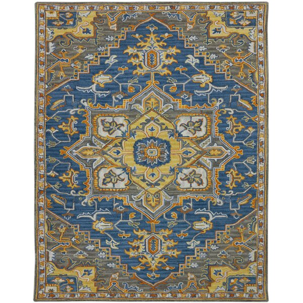 Shidler Hand-Tufted Wool Pastel Blue Area Rug by Bungalow Rose