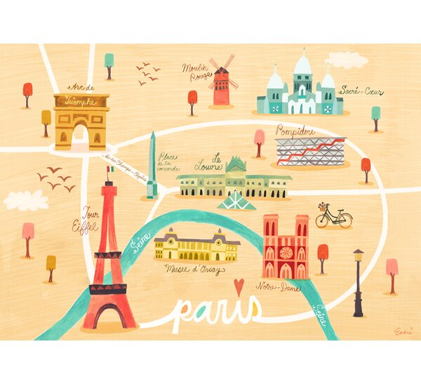 Paris Landmarks by Irene Chan Vinyl Placemat by Oopsy Daisy