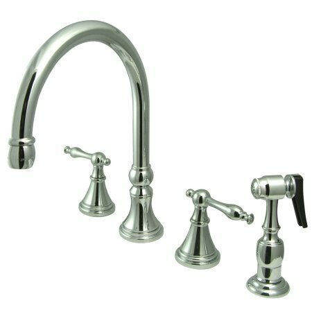 12 Deck Mount Double Handle Widespread Kitchen Faucet with Metal Lever Handle by Elements of Design