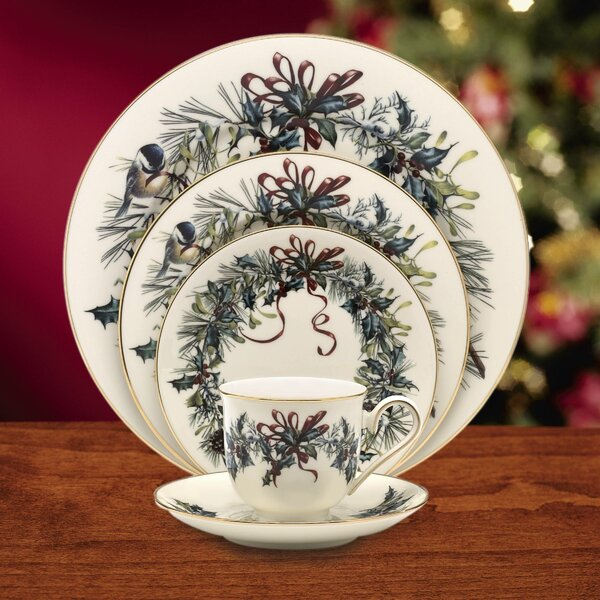 Winter Greetings Bone China 5 Piece Place Setting, Service for 1 by Lenox