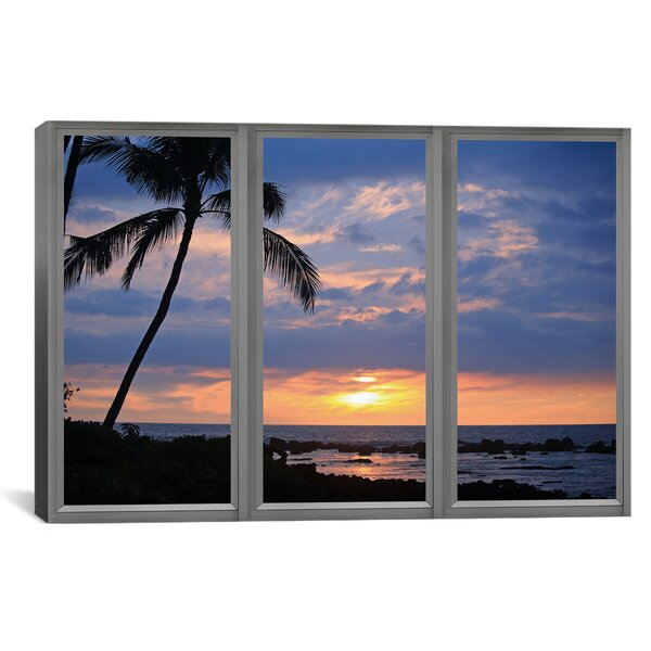 Windows of the World Beach Sunset Window View Photographic Print on Wrapped Canvas by iCanvas