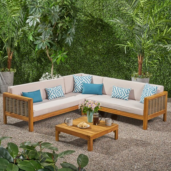 Kenosha Outdoor 4 Piece Sectional Seating Group With Cushions By Highland Dunes by Highland Dunes Sale