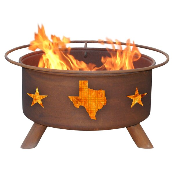 Texas State Steel Wood Burning Fire Pit by Patina Products