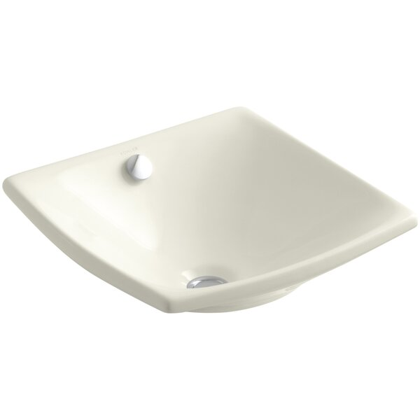 Escale Ceramic Square Vessel Bathroom Sink with Overflow by Kohler