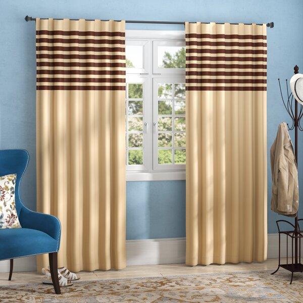 Bartholomew Striped Semi-Sheer Rod Pocket Curtain Panels (Set of 2) by Three Posts