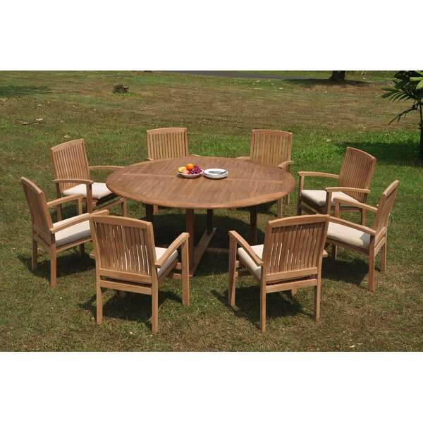 Cuomhouse 9 Piece Teak Dining Set by Rosecliff Heights