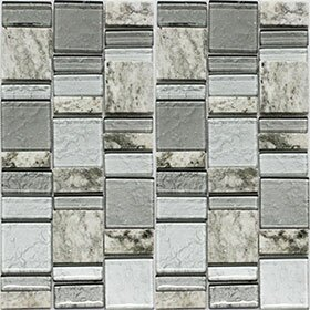 Riviera Random Sized Natural Stone/Glass Mosaic Tile in Carbon by Vetromani