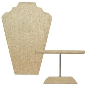 2 Piece Linen Jewelry Stand Set with Easel by Ikee Design