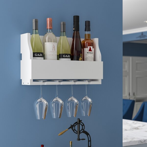 Christopherso 5 Bottle Wall Mounted Wine Bottle and Glass Rack by Winston Porter Winston Porter