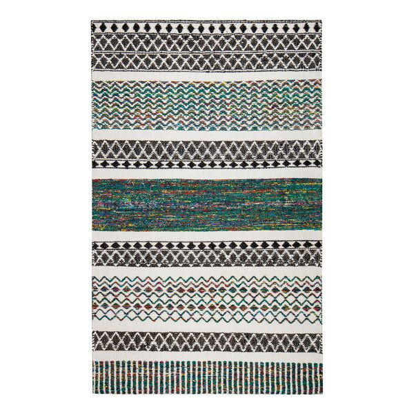 Flatweave Hand-Loomed Gray/Blue Area Rug by Bungalow Rose