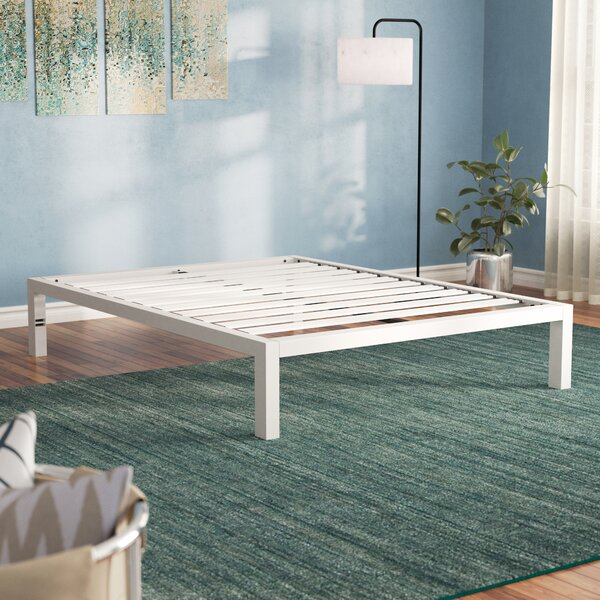 Hulme White Metal Platform Bed Frame by Latitude Run