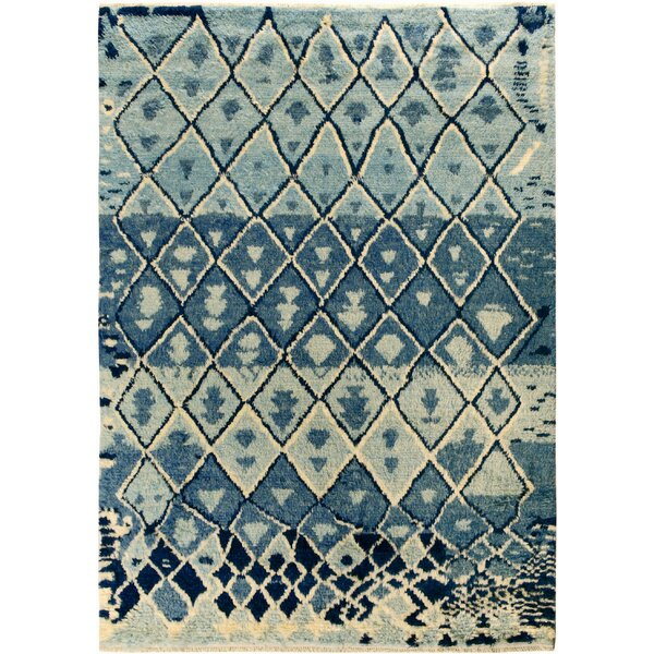 One-of-a-Kind Aaden Hand-Knotted Wool Blue/Ivory Area Rug by Isabelline