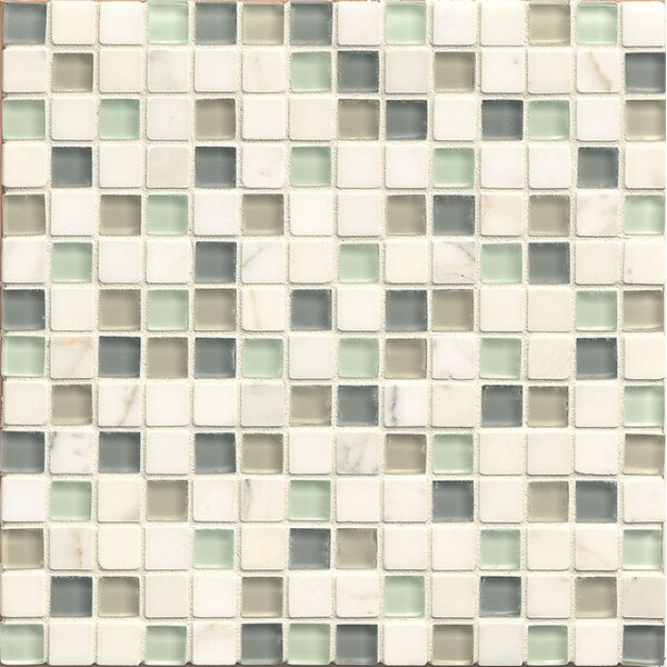 Interlude 0.75 x 0.75 Stone and Glass MosaicTile in Minuet by Bedrosians