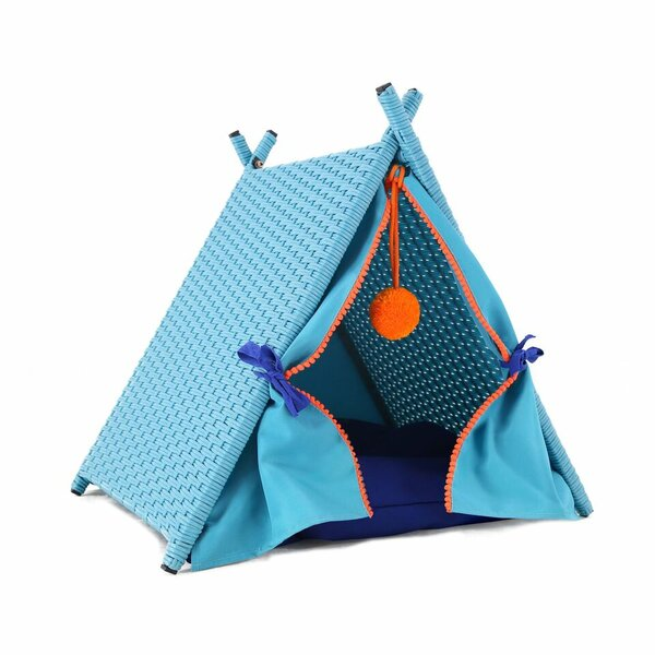 Tower Rattan Wicker Portable Tent Cat House with Soft Cushion by Azure Sky