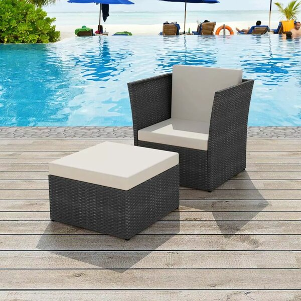 Rouleau Garden Patio Chair with Cushions and Ottoman by Orren Ellis