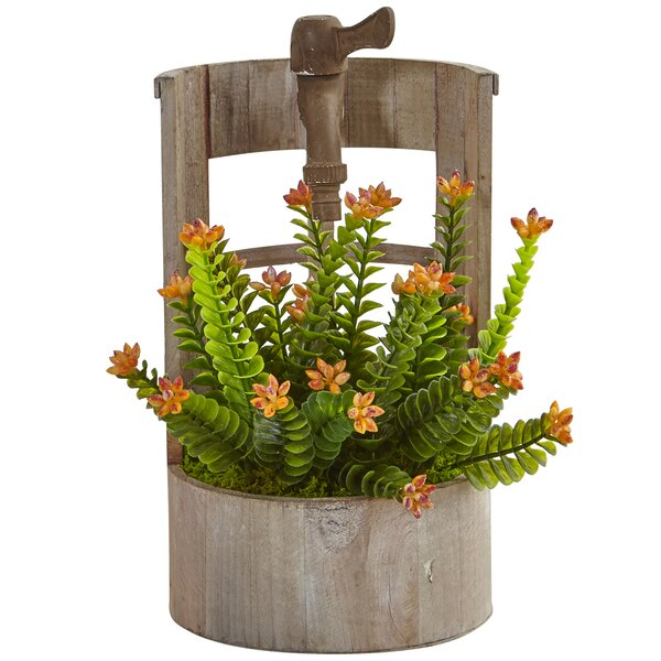 Artificial Sedum Desktop Flowering Plant in Planter by Gracie Oaks