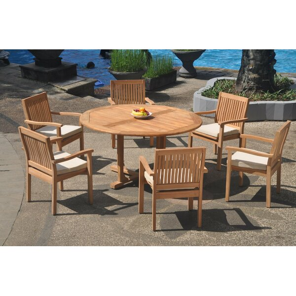 Abby 7 Piece Teak Dining Set by Rosecliff Heights