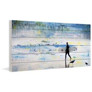 'Day Of Surfing' by Parvez Taj Painting Print on White Wood by Parvez Taj