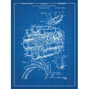Vintage airplane wall art wayfair airplane engine blueprint graphic art malvernweather Choice Image