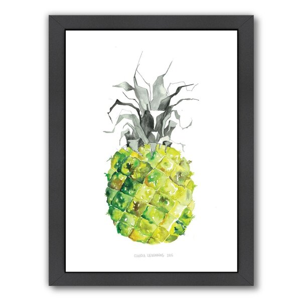 Pineapple Yellow Framed Painting Print by Bay Isle Home