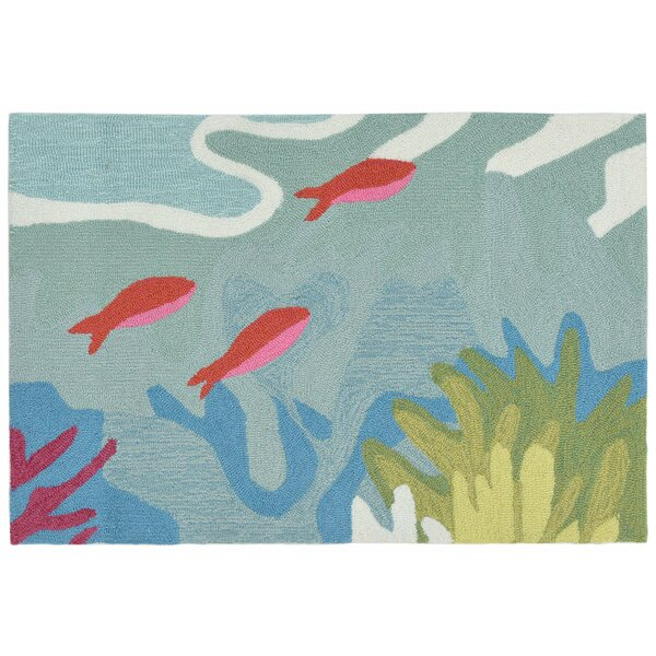 Clowers Coral Reef Hand-Tufted Blue Indoor/Outdoor Area Rug By Highland Dunes