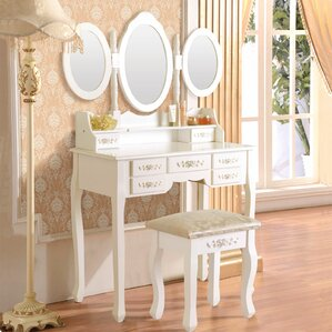 Wilsonville Makeup Tri-Folding Vanity Set with Mirror by Astoria Grand