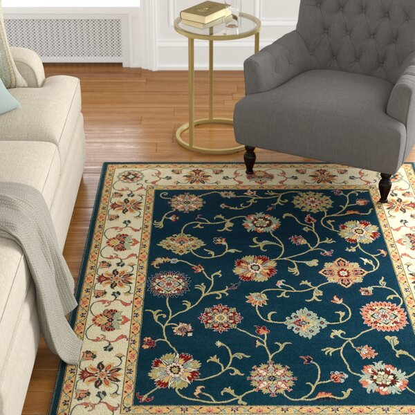 Knighten Borders Navy/Ivory Area Rug by Astoria Grand