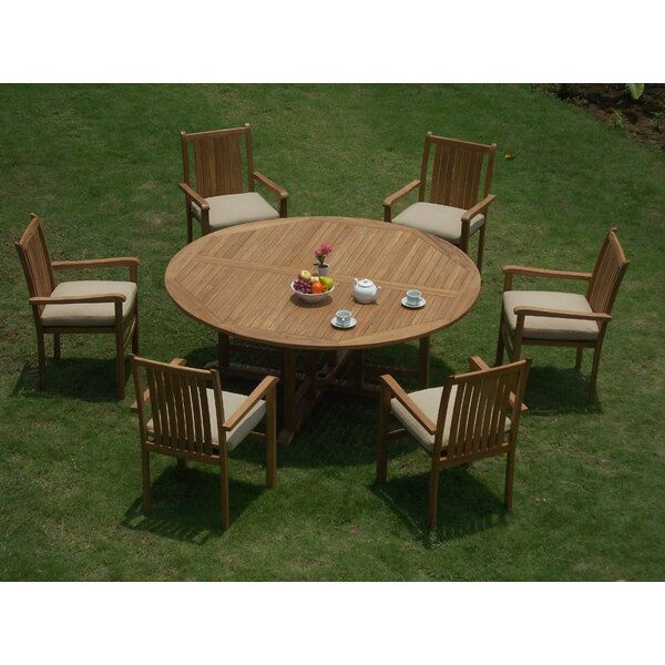 Jakobe Luxurious 7 Piece Teak Dining Set by Rosecliff Heights