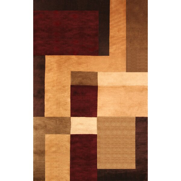 Mystic Hand-Knotted Gold/Brown Area Rug by Red Barrel Studio