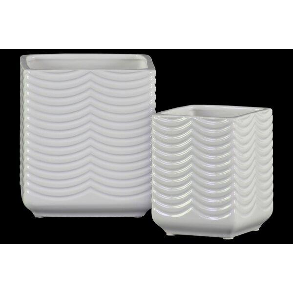 Stephane Ceramic Square Planter Box Set (Set of 2) by Ivy Bronx