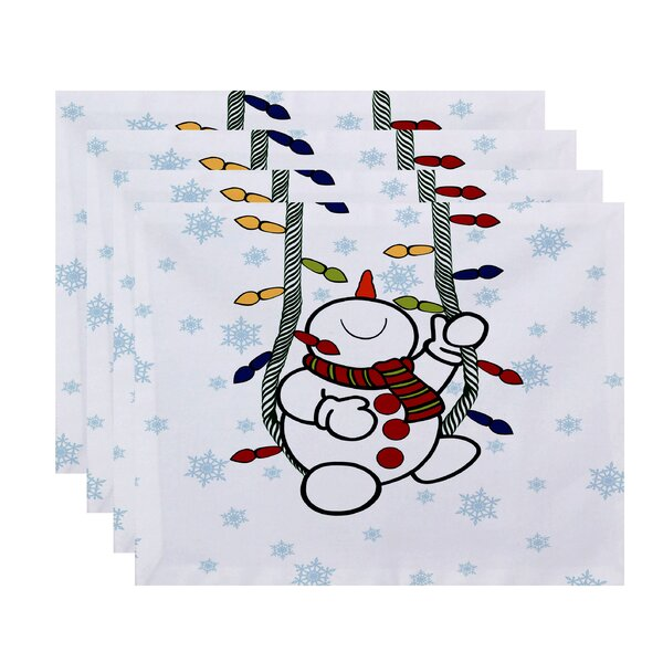 Winter Snowman Geometric Print Placemat (Set of 4) by The Holiday Aisle